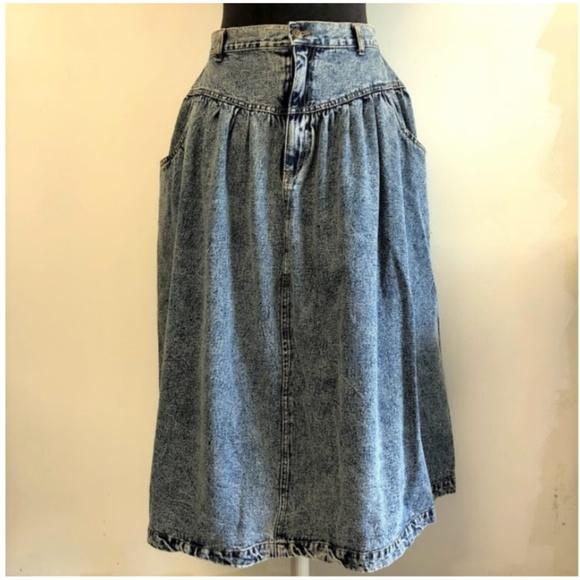5c2b6be023 Vintage Skirts | 90s Acid Wash High Waist Long Denim Skirt | Poshmark